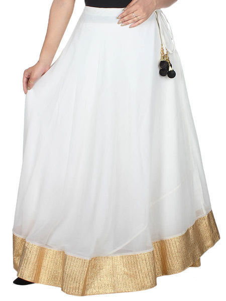 Solid Georgette Skirt From Surat In Cream - M1-PLUSK19MA3