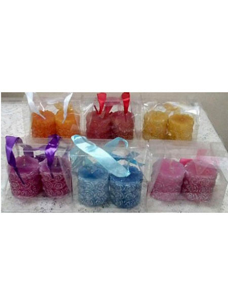 Rose  pillar candles(1 set contains 6 candles) In Red ,yellow,orange,blue,pink,purple - RC-DKCL21SP3