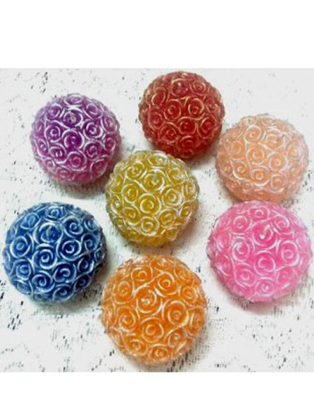 Rose ball candles(1 set contains 7 candles) In Pink-blue-red-orange-yellow-purple-beige - RC-DKCL21SP6