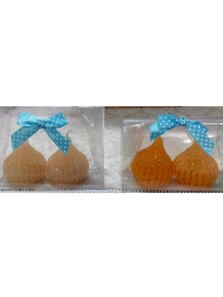 Modak shaped candles (1 set contains 6 candles) In Orange, yellow,beige - RC-DKCL21SP17