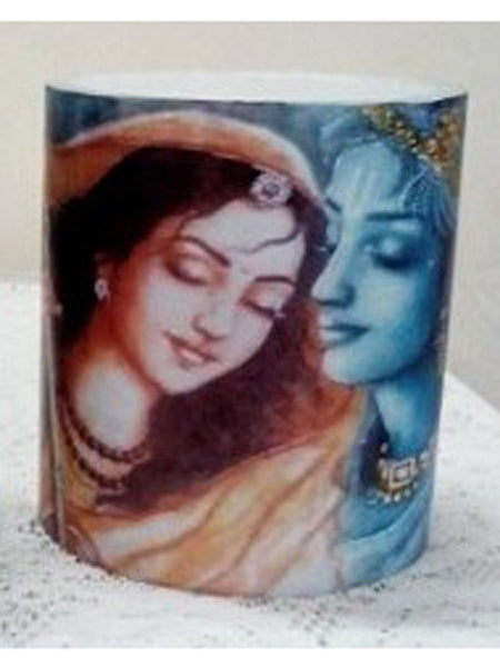 Designer wax lamp  In White colour lamp with  Krishna Meera image - RC-DKCL21SP21