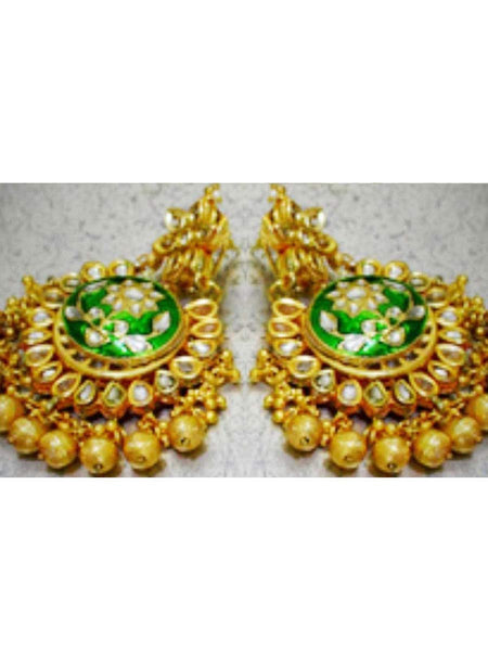 Kundan Meena Earring From Jaipur In Multicolour - LV-CJE17SP55
