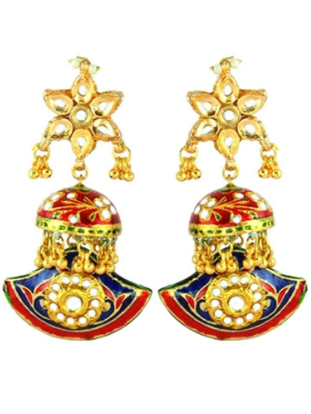 Kundan Meena Earring From Jaipur In Multicolour - LV-CJE17SP45
