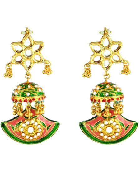 Kundan Meena Earring From Jaipur In Multicolour - LV-CJE17SP47