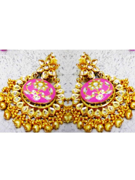 Kundan Meena Earring From Jaipur In Multicolour - LV-CJE17SP50