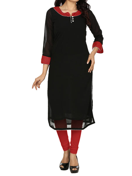 Black Georgette Long Kurti - PDKN28MH2