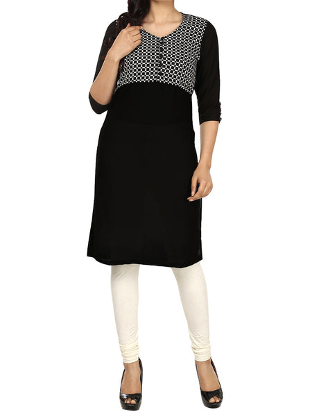 Black Georgette Medium Length Kurti - PDKN28MH5