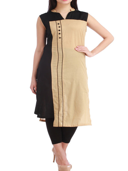 Black & Brown Cotton Kurta With Pencil Pant - PKDN2JN12