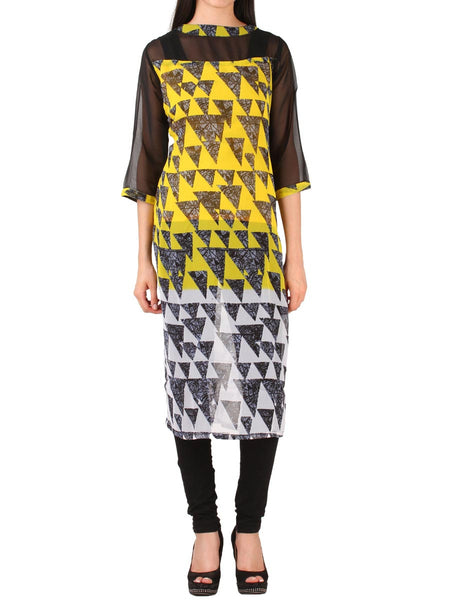 Black & Yellow Georgette Kurti From Delhi - PDKN30AG6