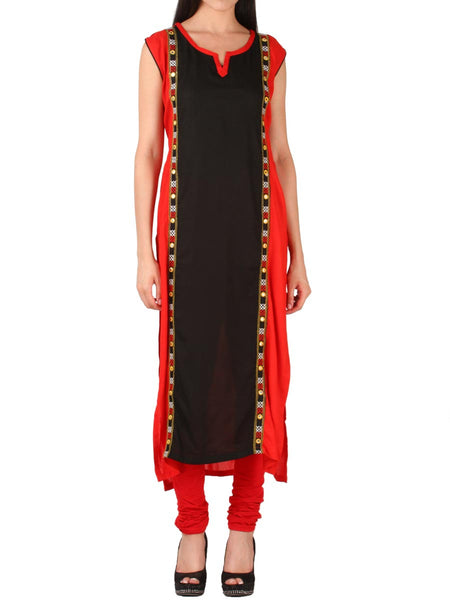 Red & Black Cotton Kurti From Delhi - PDKN30AG8