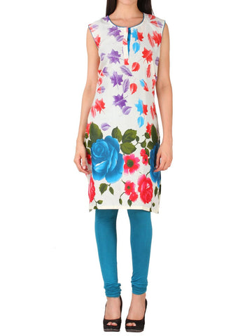White & Blue floral Design Cotton kurti From Delhi - PDKN30AG10