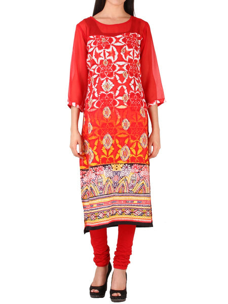 Red Cotton Kurti From Delhi - PDKN30AG11