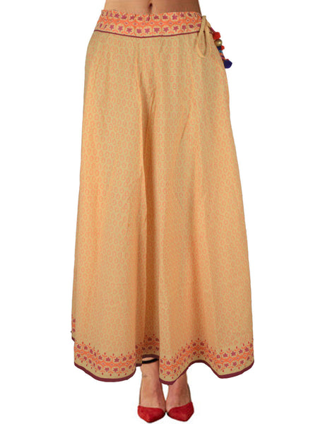 Cotton Jaipuri Printed Skirt In Beige - SM-RKBS15MH10