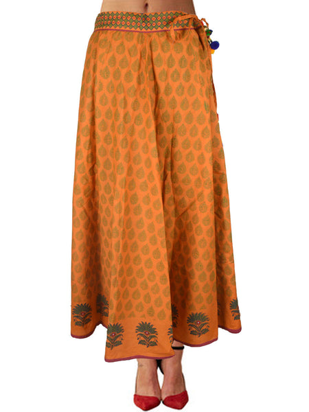 Cotton Jaipuri Printed Skirt In Yellow - SM-RKBS15MH12