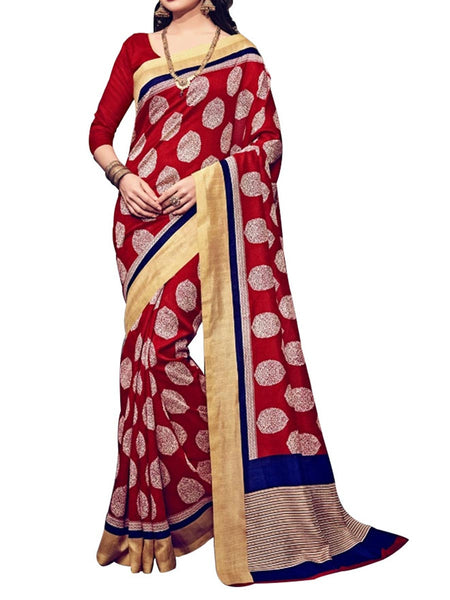 Red Colour Soft Georgette & Net Floral Printed Saree - PWBSAI29FB11