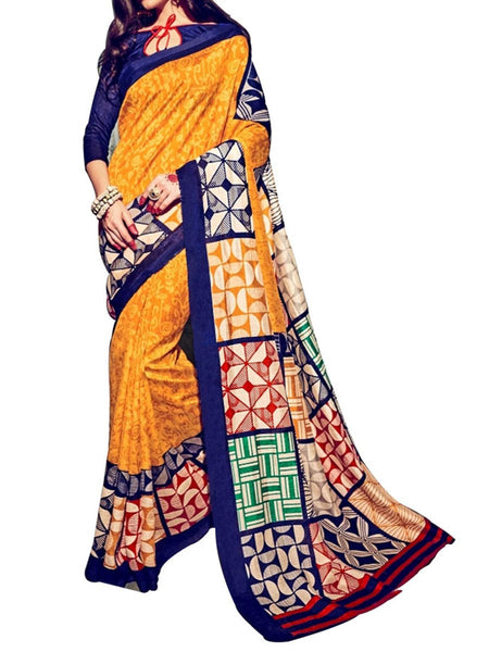Deep Yellow Colour Soft Georgette & Net Floral Printed Saree - PWBSAI29FB24