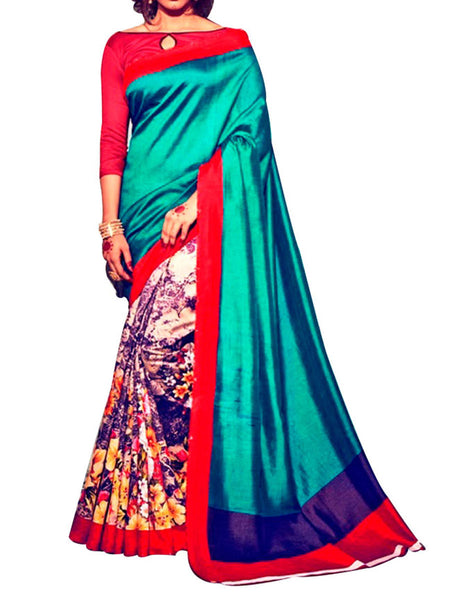 Multi Colour Soft Georgette & Net Floral Printed Saree - PWBSAI29FB28