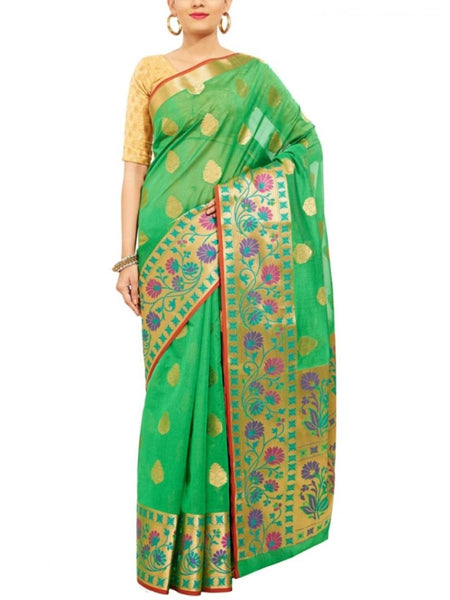 Banarasi Saree In Green - S1-PBUSA19JN19