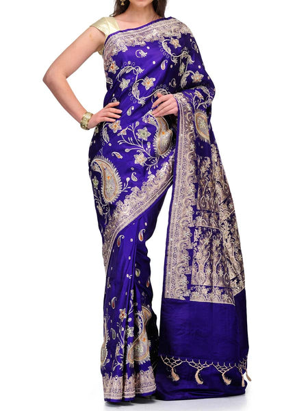 Banarasi Saree In Royal Blue - S1-OPBUSA18FB10