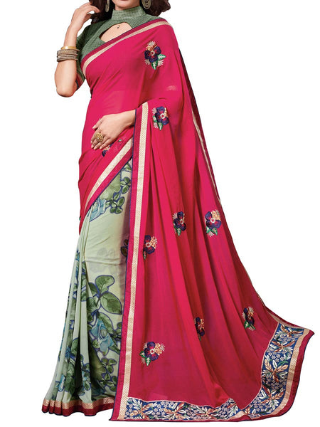 Off-White & Magenta Colour Soft Georgette & Net Floral Printed Saree - PWBSAI29FB41