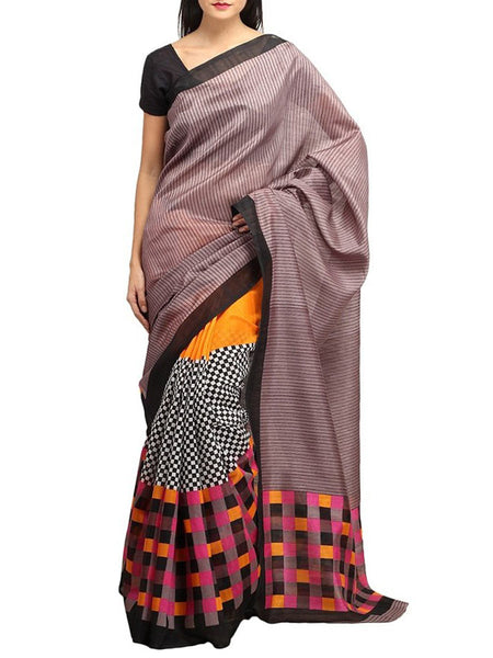 MultiColour Printed Bhagalpuri Silk Saree - VA-KBSA7FB40