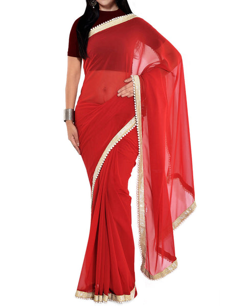 Maroon Georgette Bead Work Saree - VA-KPSA7FB11