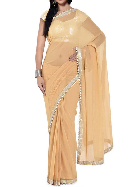 Golden Georgette Bead Work Saree - VA-KPSA7FB12