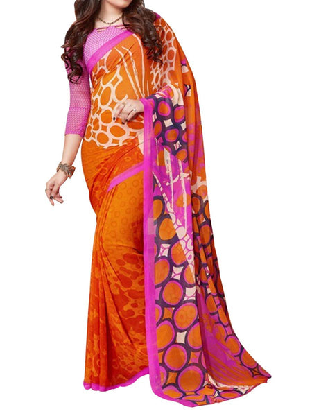 Orange Colour Soft Georgette & Net Floral Printed Saree - PWBSAI29FB47