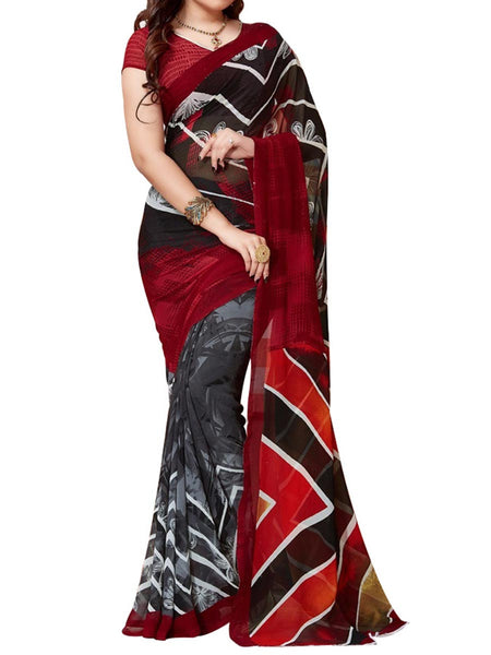 Red & Black Colour Soft Georgette & Net Floral Printed Saree - PWBSAI29FB50