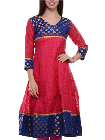 Chanderi Cotton Check Anarkali Kurti In Red - RB-BPBUK14JL20