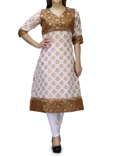 Supernet Cotton Frock Style Kurti From Banaras In White - RB-BPBUK29MH32