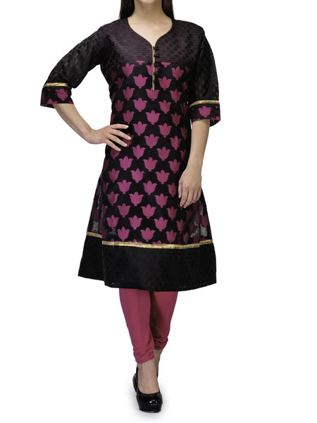 Supernet Cotton Kurti From Banaras In Black - RB-BPBUK29MH46