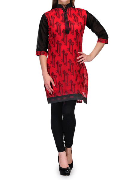 Supernet Cotton Kurti From Banaras In Red - RB-BPBUK29MH54