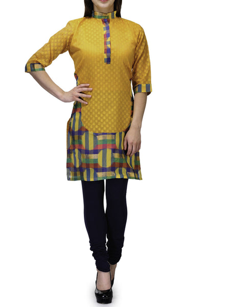 Chanderi Cotton Banarasi Anarkali Kurti In Yellow - RB-BPBUK20JL34