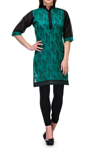 Chanderi Cotton Banarasi Anarkali Kurti In Green - RB-BPBUK20JL35