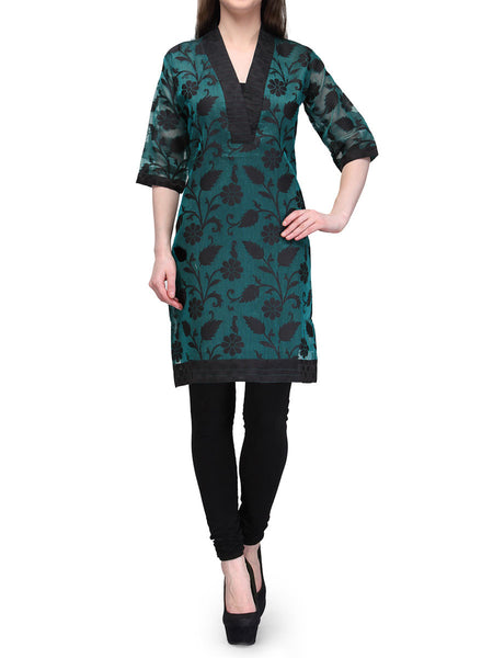 Supernet Cotton Kurti From Banaras In Green - RB-BPBUK29MH39