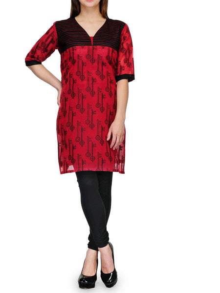Chanderi Cotton Banarasi Anarkali Kurti In Red - RB-BPBUK20JL37