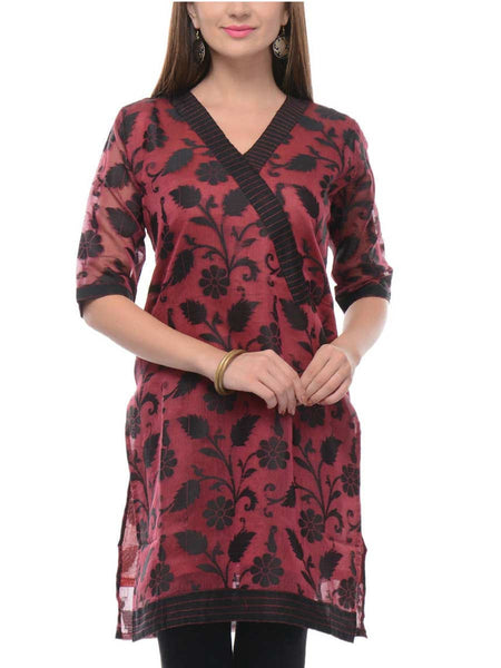 Supernet Cotton Kurti In Maroon - RB-BPBUK14JL17