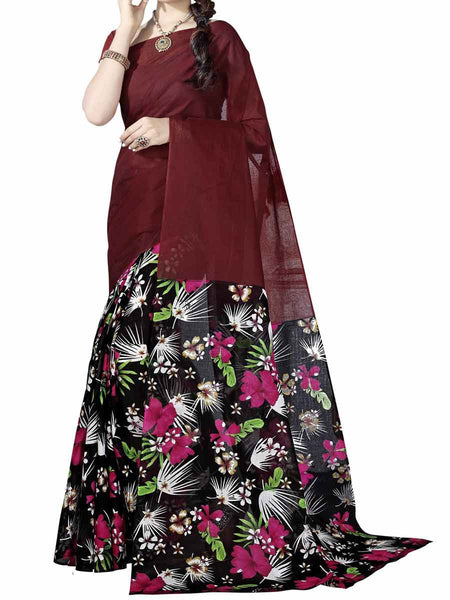 Cotton Printed  Sarees from Kolkata In Multicolor - FPKSA20JL40