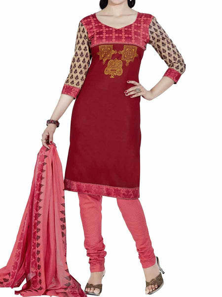 Cotton Suit From Kolkata In Red - FPKWA9AG172