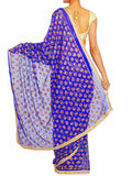 Phulkari Saree From Punjab In Blue With Sequins - PPPSA10AG2