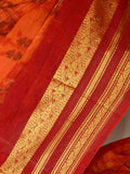 Tant Ikkat Print Saree From West Bengal In Orange Red-PWBSA10MY6