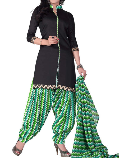 Cotton Suit From Kolkata In Black & Green - FPKWA18MA121
