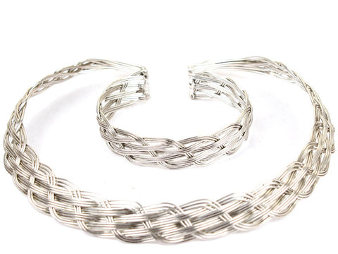 Bracelet & Necklace Set From Moradabad In  Silver - CHUJN15JN5