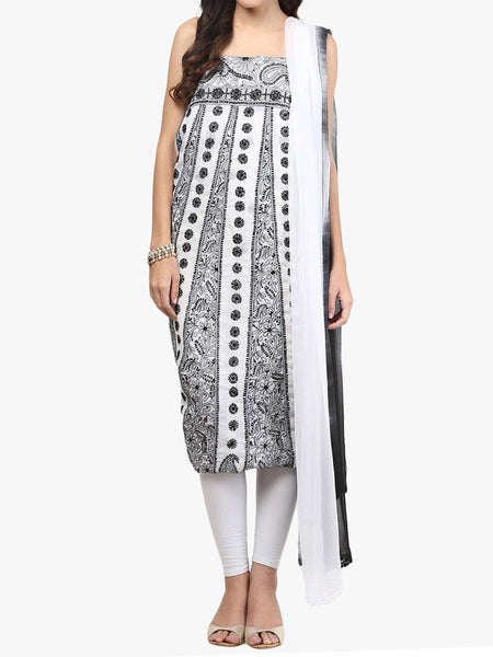 Black & White Cotton Suit From Lucknow - SL-PLSU7JY41