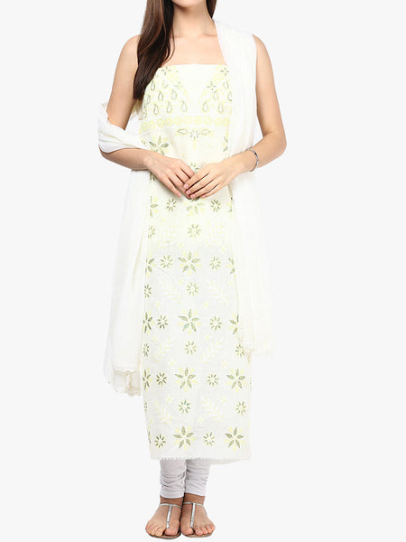 Lemon White   Cotton Voil Suit From Lucknow - SL-PLSU7JY9
