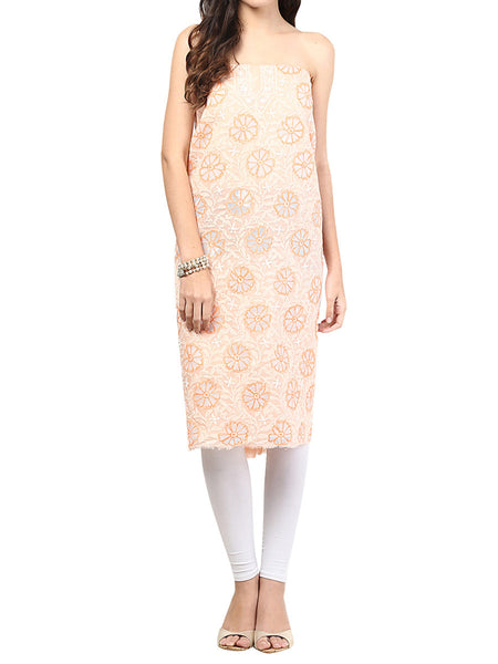 Peach Cotton Suit From Lucknow - SL-PLSU7JY2