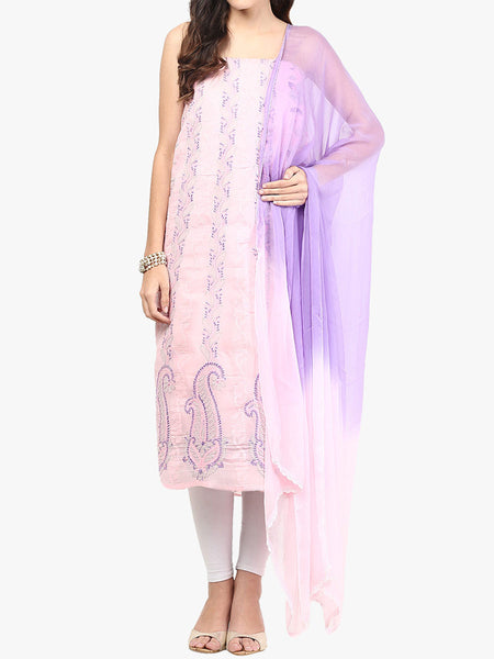 Pink & Move Cotton Voil Suit From Lucknow - SL-PLSU7JY17