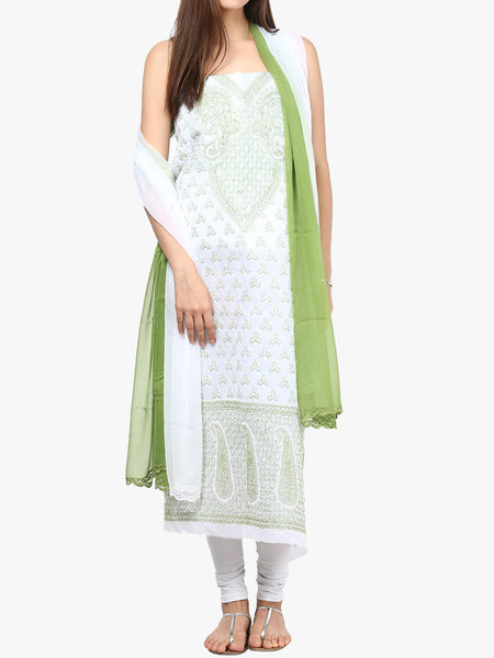 White & Green Cotton Suit From Lucknow - SL-PLSU7JY29