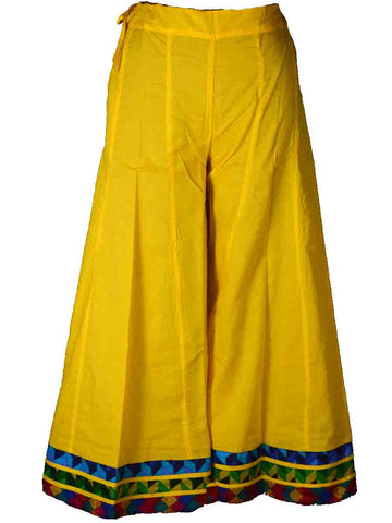 Cotton Divided Skirt From Jaipur In Gold Yellow - DRKPS4JN10